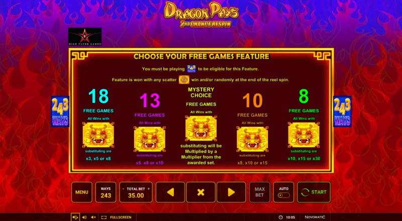 Dragon Pays :: Choose Your Free Games Feature