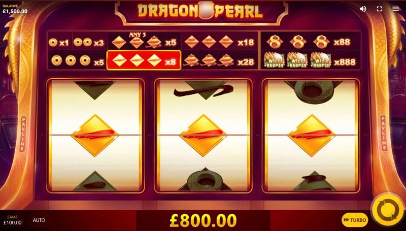 Dragon Pearl :: A three of a kind win