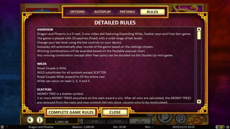 Dragon & Phoenix :: General Game Rules