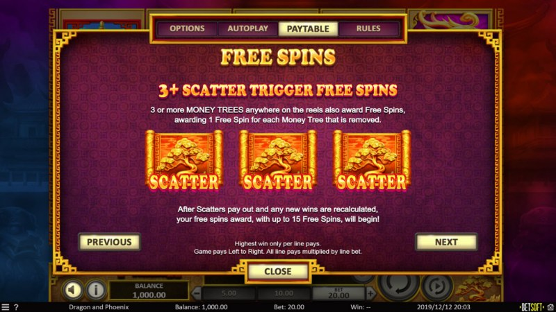 Dragon & Phoenix :: Free Spins Rules