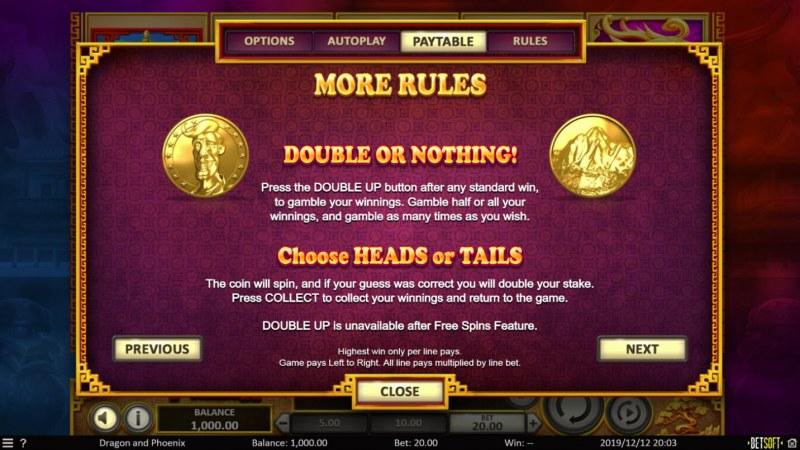 Dragon & Phoenix :: Double Up Feature