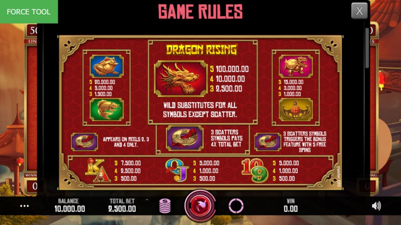 Dragon Rising :: Paytable