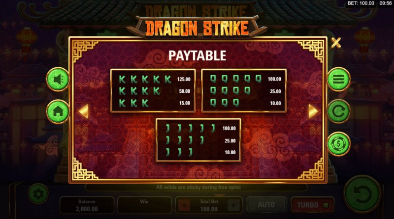Dragon Strike :: Paytable - Low Value Symbols