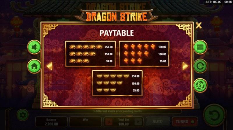 Dragon Strike :: Paytable - Medium Value Symbols