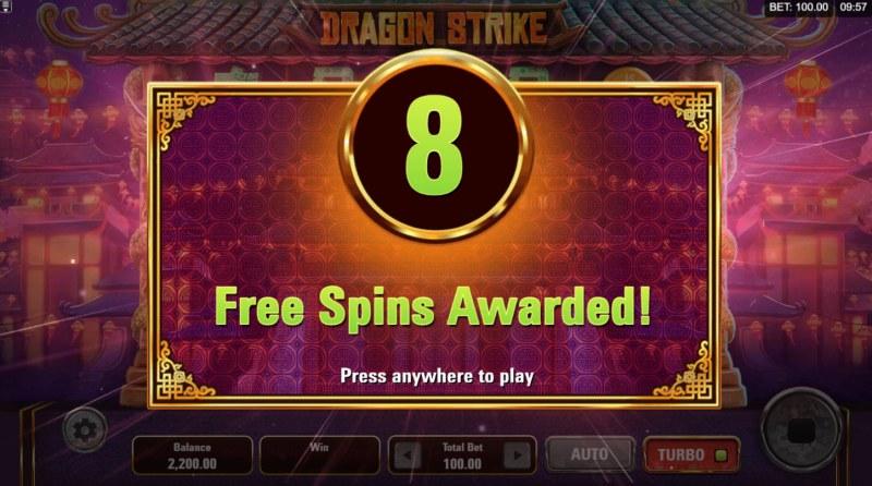 Dragon Strike :: 8 Free Spins Awarded