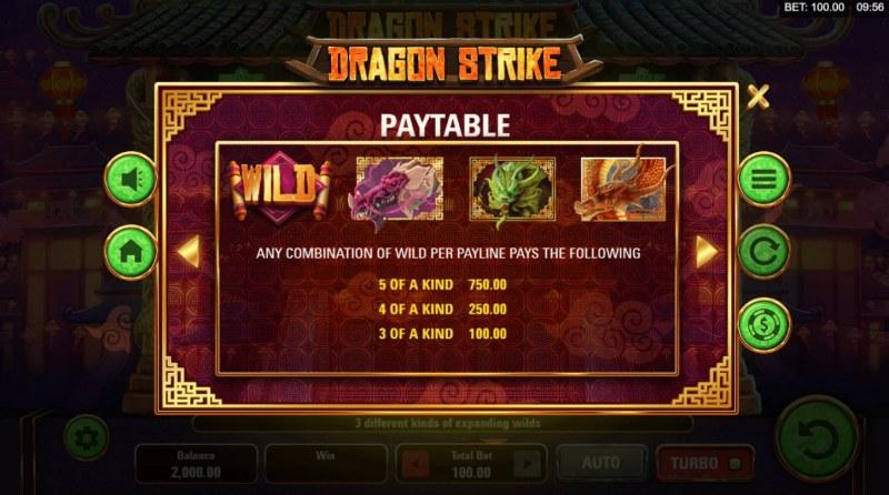 Dragon Strike :: Paytable - High Value Symbols