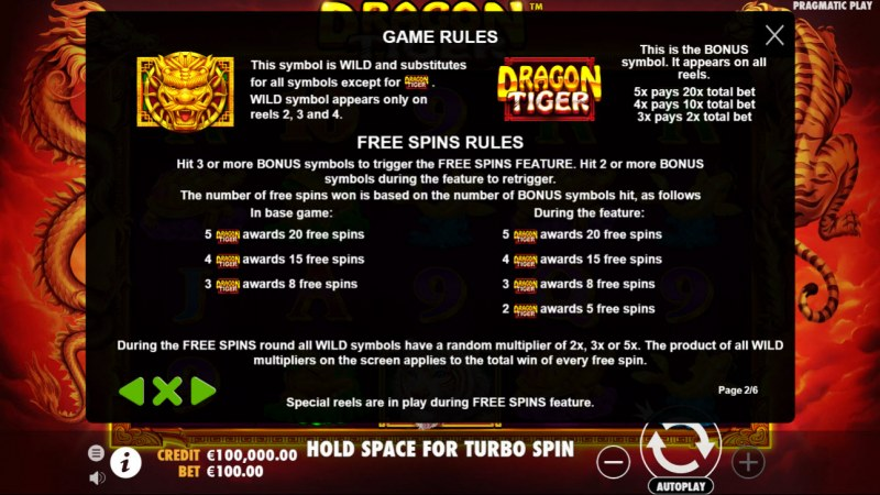Dragon Tiger :: Wild and Scatter Rules
