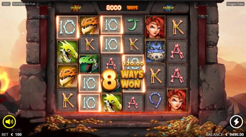 Dragon tribe :: Mystery symbols lead to an 8 ways win