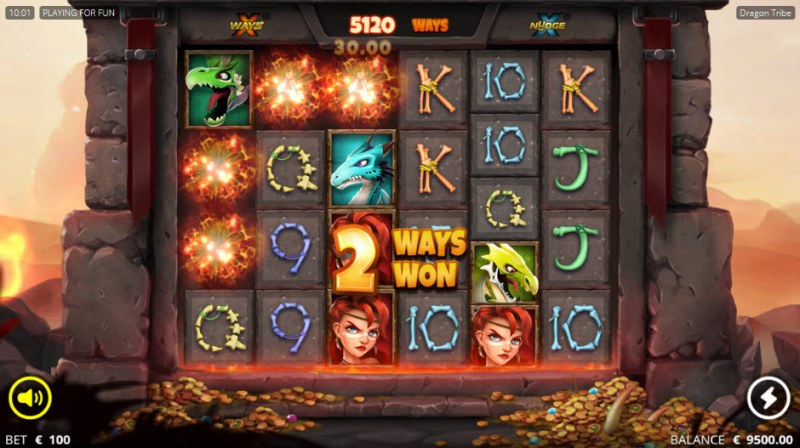 Dragon tribe :: Winning symbols are removed from the reels and new symbols drop in place