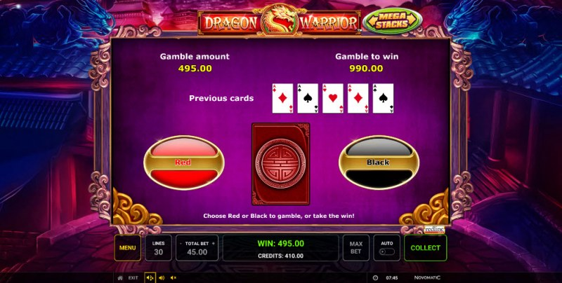 Dragon Warrior :: Black or Red Gamble Feature