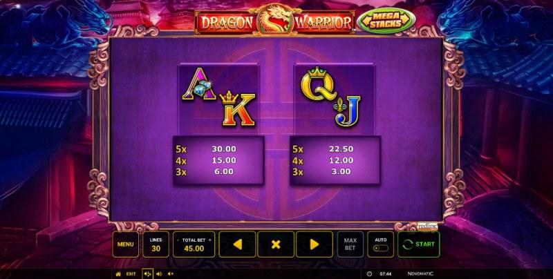Dragon Warrior :: Paytable - Low Value Symbols