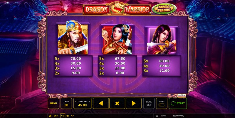 Dragon Warrior :: Paytable - High Value Symbols