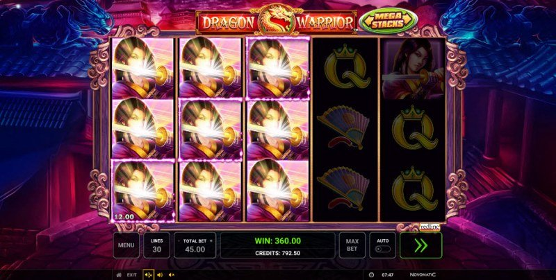 Dragon Warrior :: Stacked symbols leads to multiple winning paylines