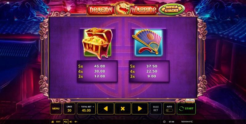 Dragon Warrior :: Paytable - Medium Value Symbols