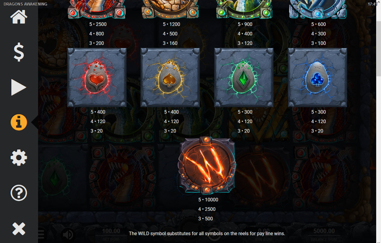 Dragons Awakening :: Paytable - Low Value Symbols