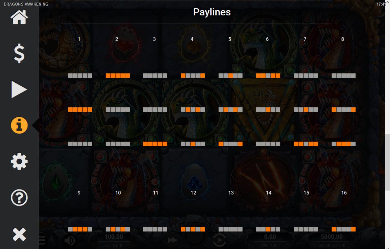 Dragons Awakening :: Paylines 1-8