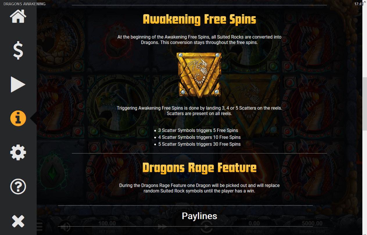 Dragons Awakening :: Scatter Symbol Rules