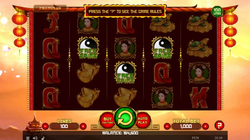 Dragon's Charms :: Scatter symbols triggers the free spins feature