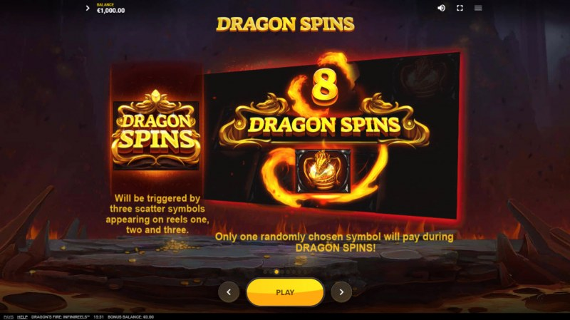 Dragon's Fire Infinireels :: Free Spin Feature Rules