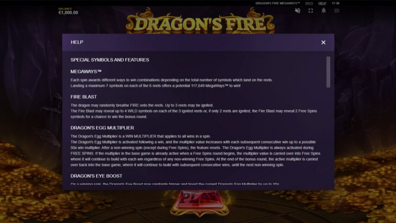 Dragon's Fire Megaways :: General Game Rules
