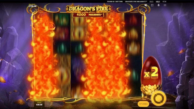 Dragon's Fire Megaways :: Dragon blast feature triggered