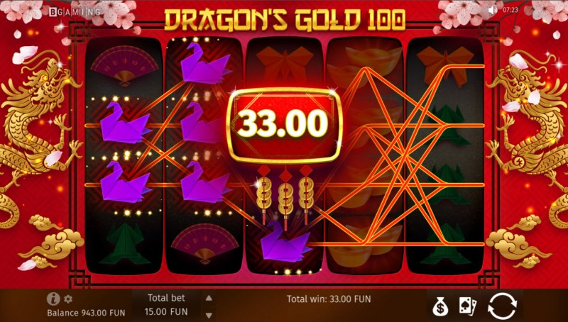 Dragon's Gold 100 :: Multiple winning paylines