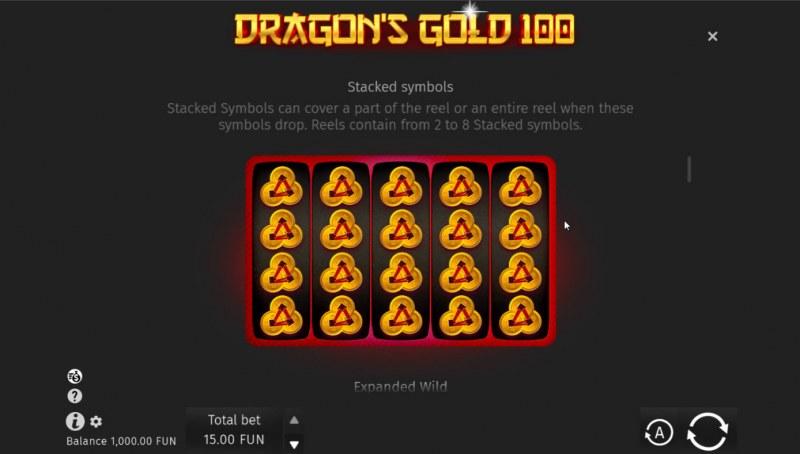 Dragon's Gold 100 :: Stacked Symbols