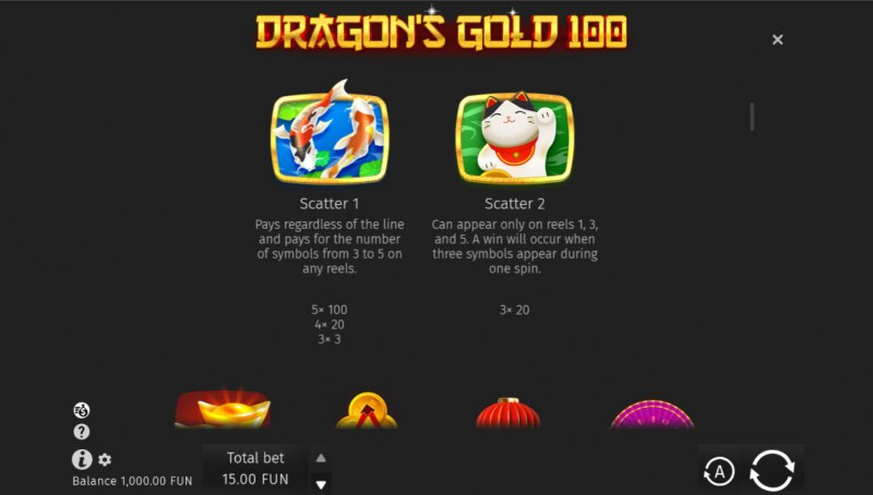 Dragon's Gold 100 :: Scatter Symbol Rules