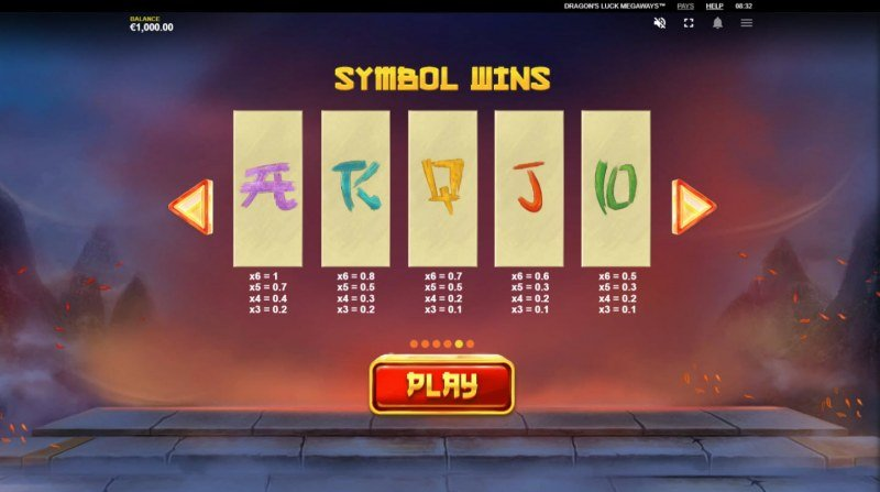 Dragon's Luck Megaways :: Paytable - Low Value Symbols