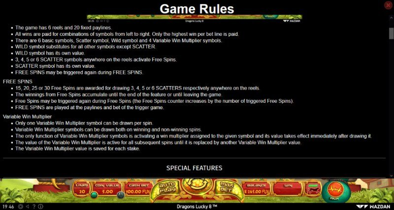 Dragons Lucky 8 :: General Game Rules
