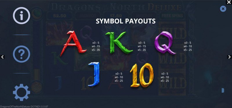 Dragons of the North Deluxe :: Paytable - Low Value Symbols