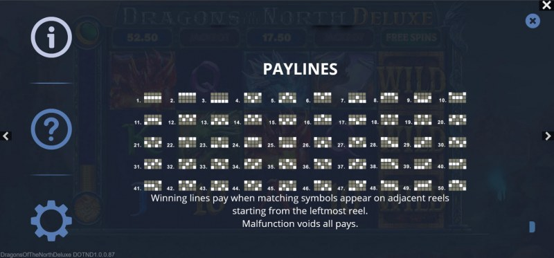 Dragons of the North Deluxe :: Paylines 1-50