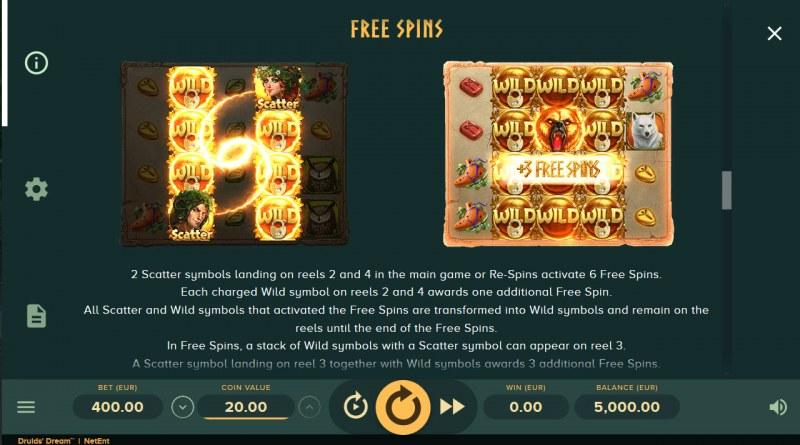 Druids Dream :: Free Spins Rules