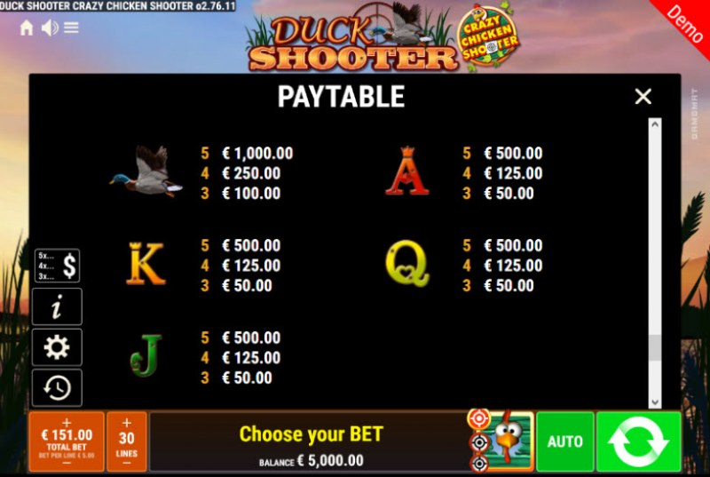 Duck Shooter Crazy Chicken Shooter :: Paytable - Low Value Symbols