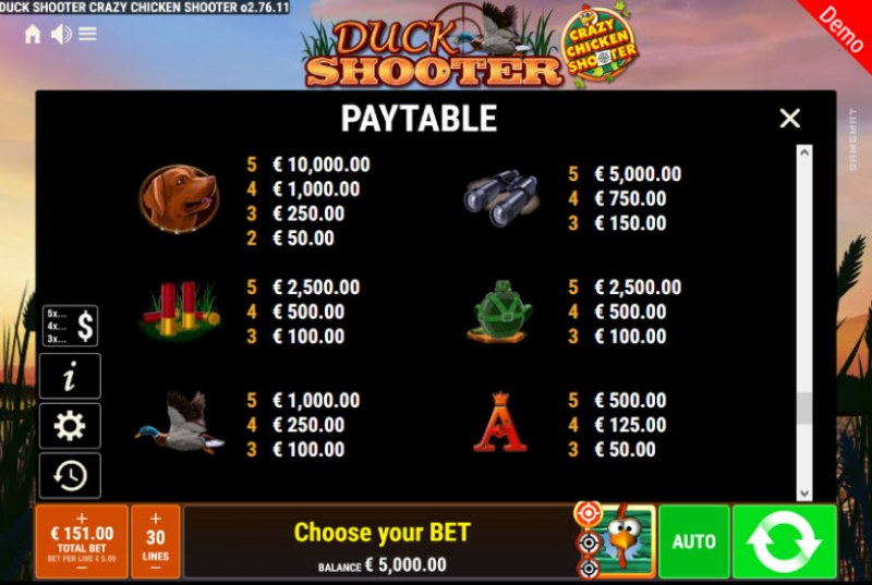 Duck Shooter Crazy Chicken Shooter :: Paytable - High Value Symbols