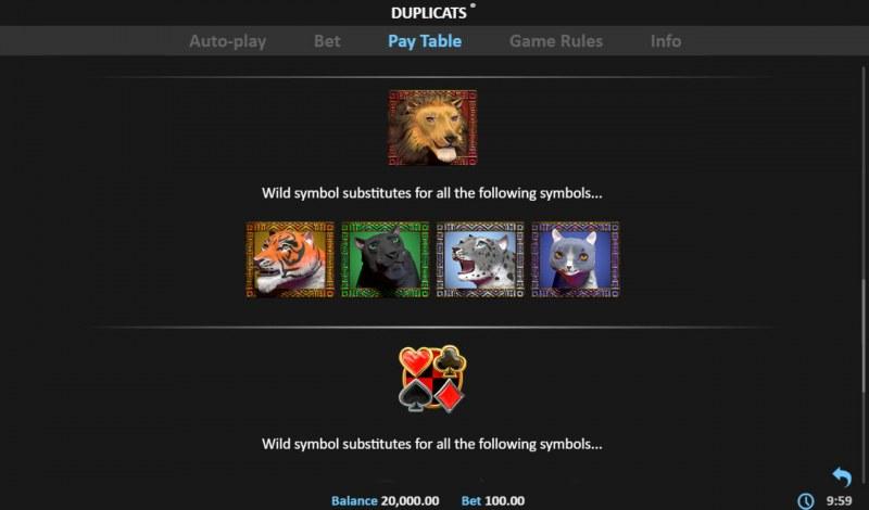 Duplicats :: Wild Symbols Rules