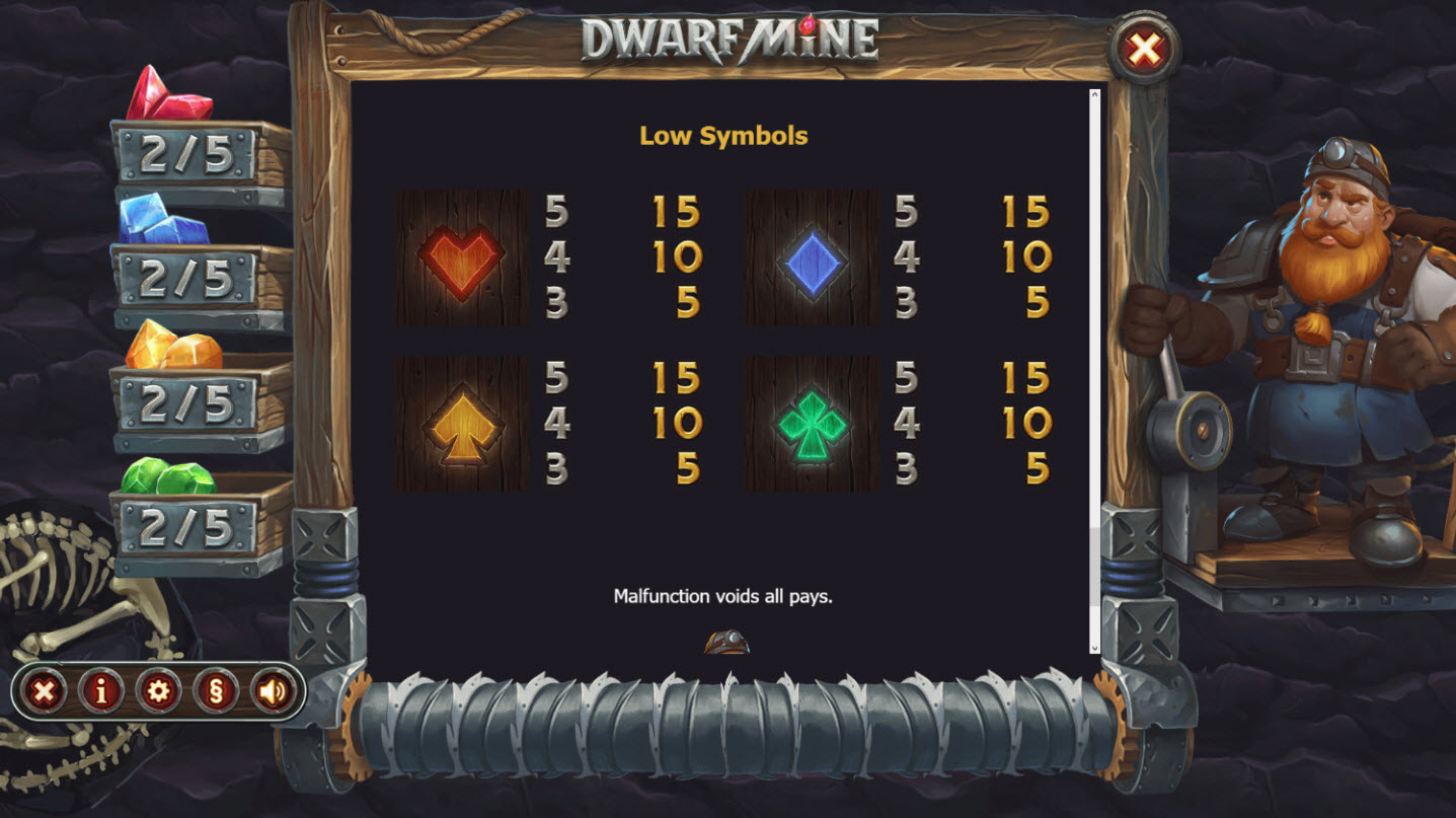 Play slots at Chanz: Chanz featuring the Video Slots Dwarf Mine with a maximum payout of $488,025