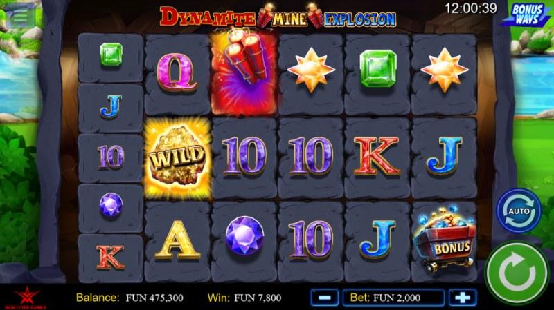 Dynamite Mine Explosion :: Dynamite symbol triggers expanding reels