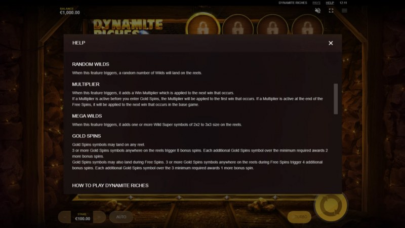 Dynamite Riches :: Feature Rules