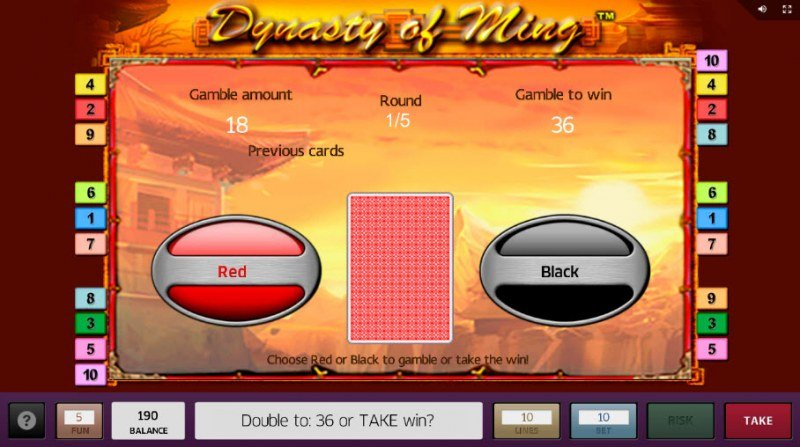 Dynasty of Ming :: Black or Red Gamble Feature