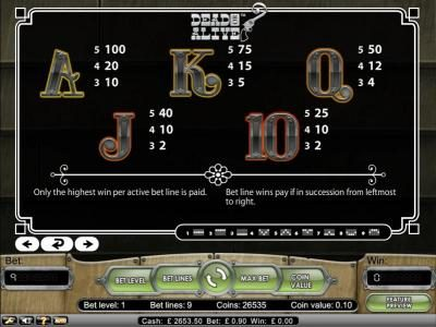 Dead or Alive :: bet line wins pay if in succession from leftmost to right