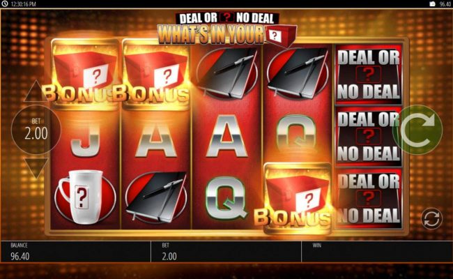 Cheeky Riches featuring the Video Slots Deal or No Deal What's In Your Box with a maximum payout of $500,000