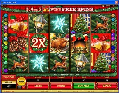 Cabaret Club featuring the Video Slots Deck the Halls with a maximum payout of $1,200,000