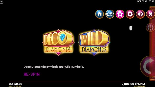 Deco Diamonds :: Wild Symbol Rules