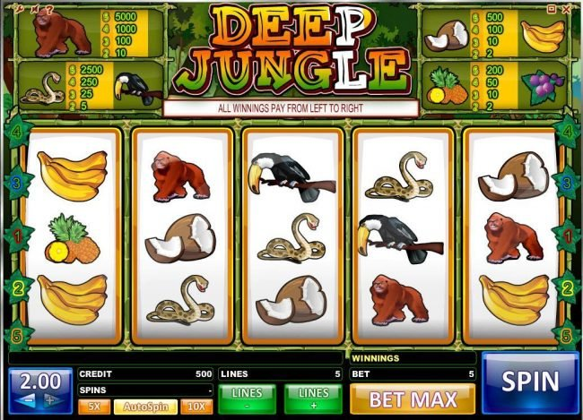 Play slots at Wicked Bet: Wicked Bet featuring the Video Slots Deep Jungle with a maximum payout of $10,000