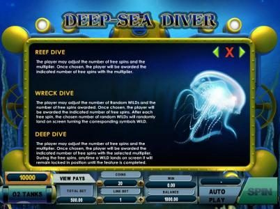 Bonus Features include - Reef Dive, Wreck Dive and Deep Dive.