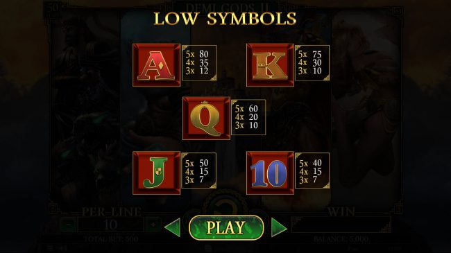 Superior featuring the Video Slots Demi Gods II with a maximum payout of $75,000