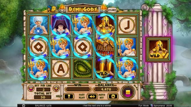 Demi Gods :: Multiple winning paylines triggers a big win