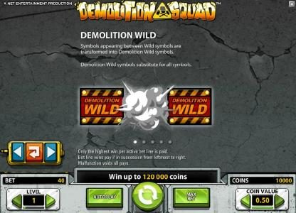 Wild Slots featuring the Video Slots Demolition Squad with a maximum payout of $20,000
