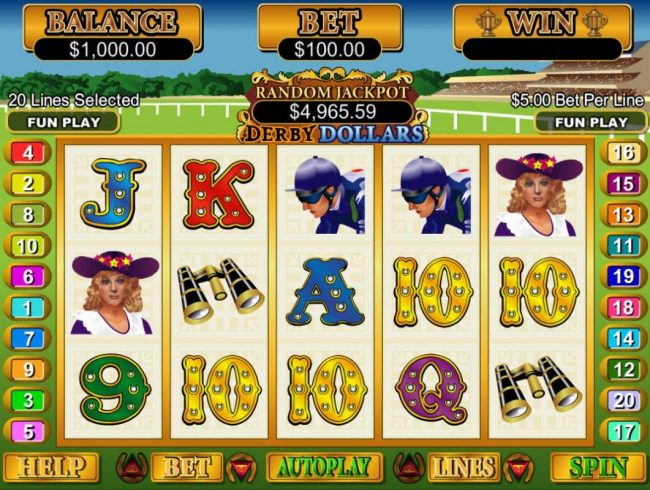 A horse racing themed main game board featuring five reels and 20 paylines with a $250,000 max payout
